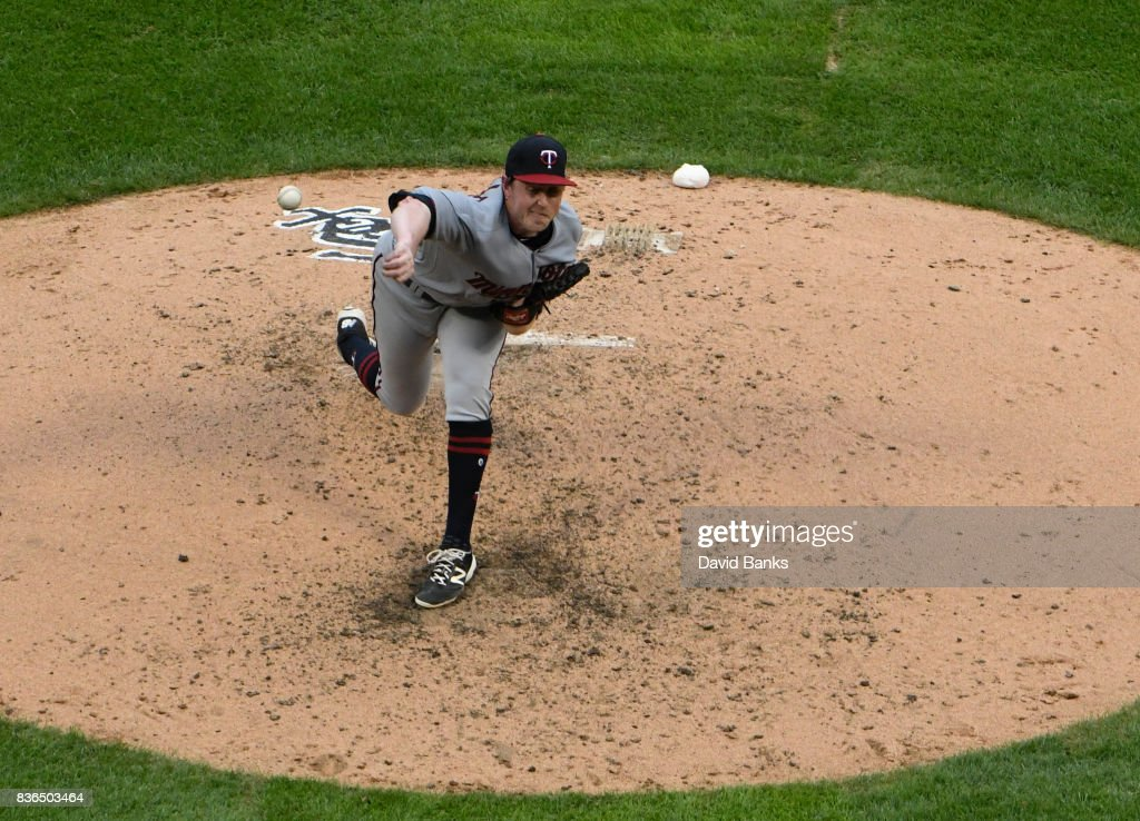 Tim Melville #58 of the Minnesota Twins pitches against the Chicago White Sox during the fourth inning in game one of a doubleheader on August 21, 2017 at Guaranteed Rate Field in Chicago, Illinois.
