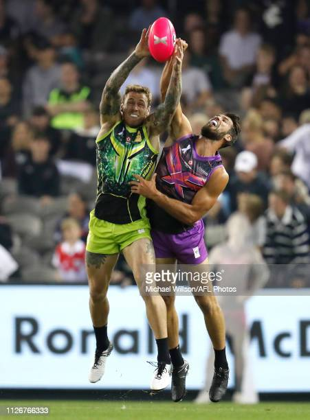 Tim Membrey of Team Rampage and Alex Rance of Team Flyers compete for the ball during the AFLX match between Team Flyers and Team Rampage at Marvel...