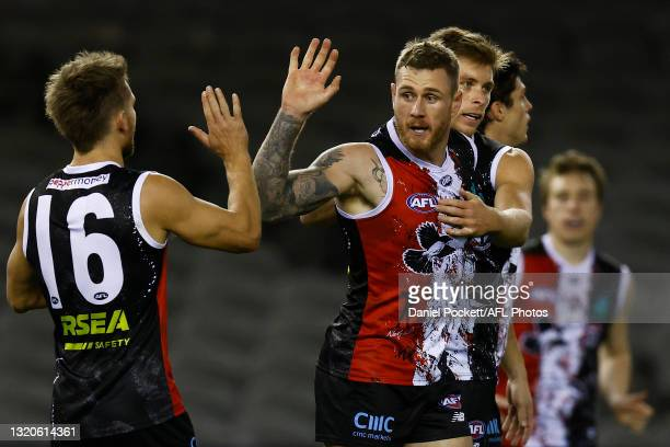 Tim Membrey of the Saints celebrates a goal during the round 11 AFL match between the St Kilda Saints and the North Melbourne Kangaroos at Marvel...