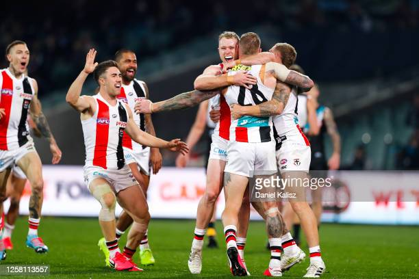 Tim Membrey of the Saints celebrates after kicking a goal during the round 8 AFL match between Port Adelaide Power and the St Kilda Saints at...