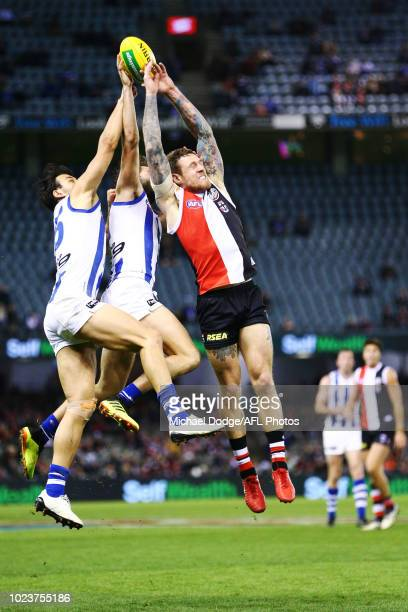 Tim Membrey of the Saints competes for the ball during the round 23 AFL match between the St Kilda Saints and the North Melbourne Kangaroos at Etihad...