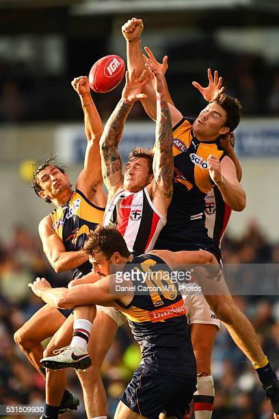 Tim Membrey of the Saints contests a mark with Sharrod Wellingham Eric Mackenzie and Jeremy McGovern of the Eagles during the 2016 AFL Round 08 match...