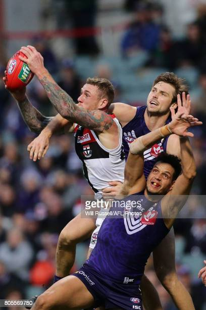 Tim Membrey of the Saints marks the ball during the round 15 AFL match between the Fremantle Dockers and the St Kilda Saints at Domain Stadium on...