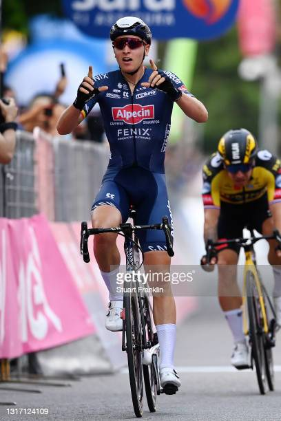 Tim Merlier of Belgium and Team Alpecin-Fenix celebrates at arrival during the 104th Giro d'Italia 2021, Stage 2 a 179km stage from Stupinigi to...