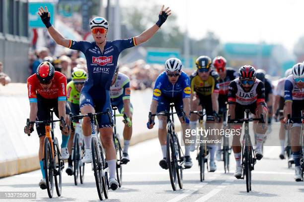 Tim Merlier of Belgium and Team Alpecin-Fenix celebrates winning during the 17th Benelux Tour 2021, Stage 1 a 169,6km stage from Surhuisterveen to...