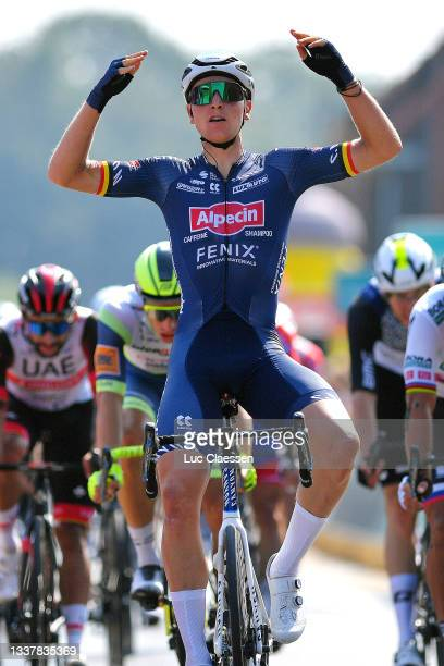 Tim Merlier of Belgium and Team Alpecin-Fenix celebrates winning during the 17th Benelux Tour 2021, Stage 4 a 166,1km stage from Aalter to Ardooie /...