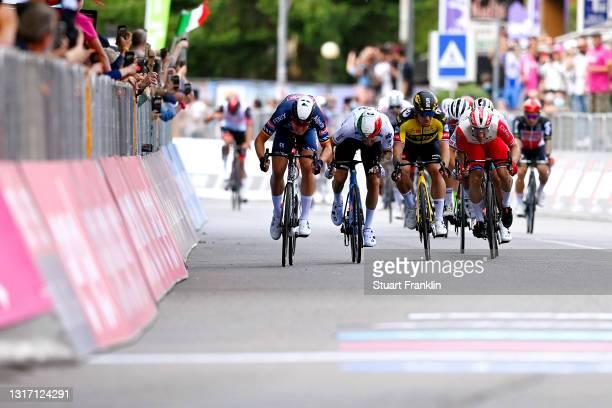 Tim Merlier of Belgium and Team Alpecin-Fenix, Dylan Groenewegen of Netherlands and Team Jumbo - Visma, Giacomo Nizzolo of Italy and Team Qhubeka...