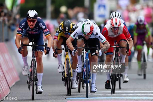 Tim Merlier of Belgium and Team Alpecin-Fenix, Giacomo Nizzolo of Italy and Team Qhubeka Assos, Elia Viviani of Italy and Team Cofidis, Dylan...