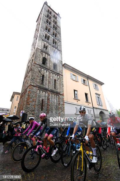 Tim Merlier of Belgium and Team Alpecin-Fenix Purple Points Jersey, Filippo Ganna of Italy and Team INEOS Grenadiers Pink Leader Jersey, Vincenzo...