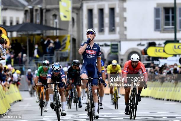 Tim Merlier of Belgium and Team Alpecin-Fenix stage winner celebrates at arrival, Jasper Philipsen of Belgium and Team Alpecin-Fenix & Nacer Bouhanni...