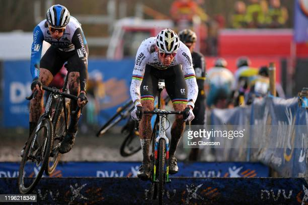 Tim Merlier of Belgium and Team Creafin -Fristads / Mathieu Van Der Poel of The Netherlands and Team Corendon - Circus / Mud / Jump / during the 36th...