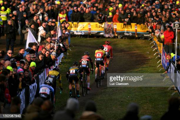 Tim Merlier of Belgium and Team Creafin -Fristads / Wout Van Aert of Belgium and Team Jumbo-Visma / Lars Van Der Haar of The Netherlands and Team...