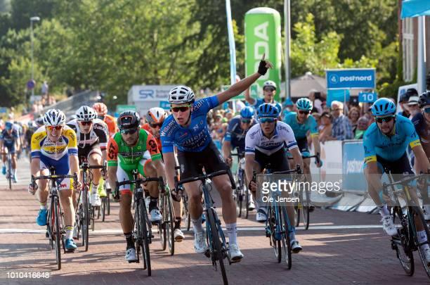 Tim Merlier of Belgium and team Veranda's Willems-Crelan celebrate winning the third stage of Tour of Denmark on August 3, 2018 in Vordingborg,...