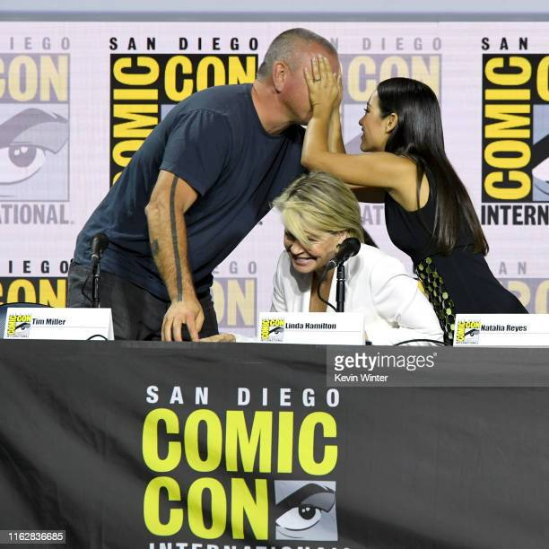 Tim Miller Linda Hamilton and Natalia Reyes speak at the Terminator Dark Fate panel during 2019 ComicCon International at San Diego Convention Center...