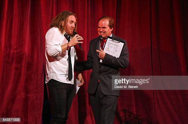 Tim Minchin and Lord Harry Dalmeny speak at the Summer Gala for The Old Vic at The Brewery on June 27 2016 in London England