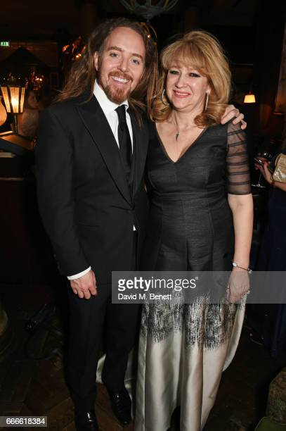 Tim Minchin and Sonia Friedman attend The Olivier Awards 2017 after party at Rosewood London on April 9 2017 in London England