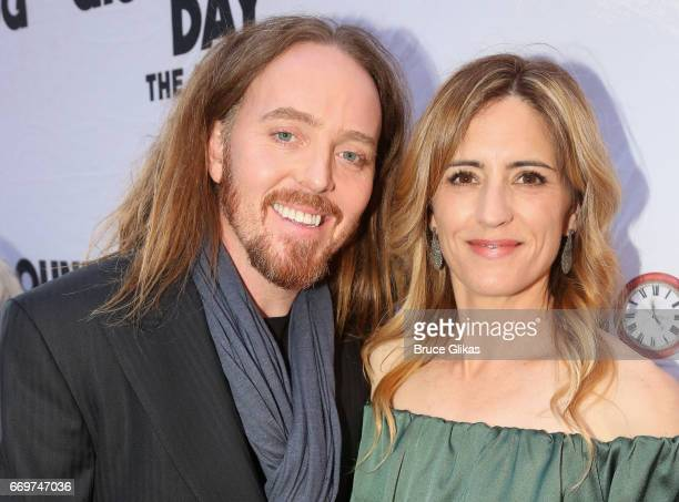 Tim Minchin and wife Sarah Minchin pose at the opening night of the new musical based on the film Groundhog Day on Broadway at The August Wilson...