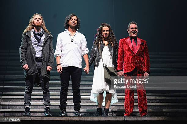 Tim Minchin as Judas Isacariot Ben Forster as Jesus Melanie Chisholm as Mary Magdalene and Chris Moyles as King Herod attend the photocall for 'Jesus...