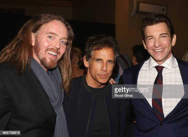 Tim Minchin Ben Stiller and Andy Karl pose at the opening night after party for the musical based on the film Groundhog Day on Broadway at Gotham...