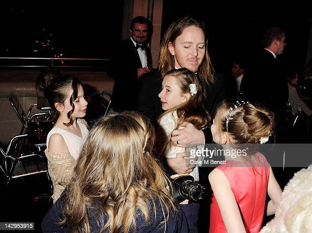 Tim Minchin celebrates with Best Actress winners Sophia Kiely Eleanor Worthington Cox Kerry Ingram and Cleo Demetriou at an after party following the...