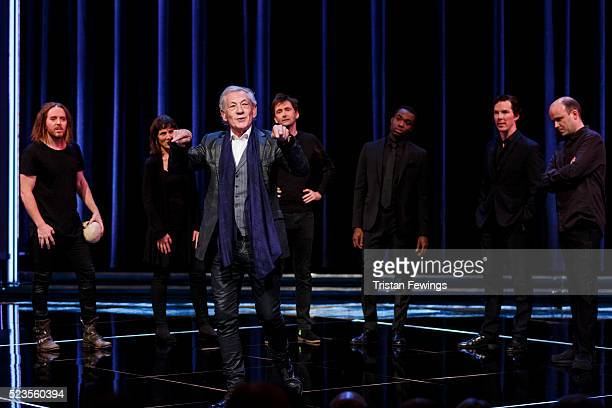 Tim Minchin, Harriet Walter, Sir Ian McKellen, David Tennant, Paapa Essiedu, Benedict Cumberbatch and Rory Kinnear perform on stage as part of a...