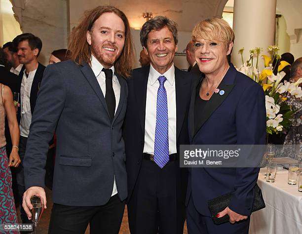 Tim Minchin, Lord Melvyn Bragg and Eddie Izzard attend the The South Bank Sky Arts Awards, airing on Wednesday 8th June on Sky Arts, at The Savoy...
