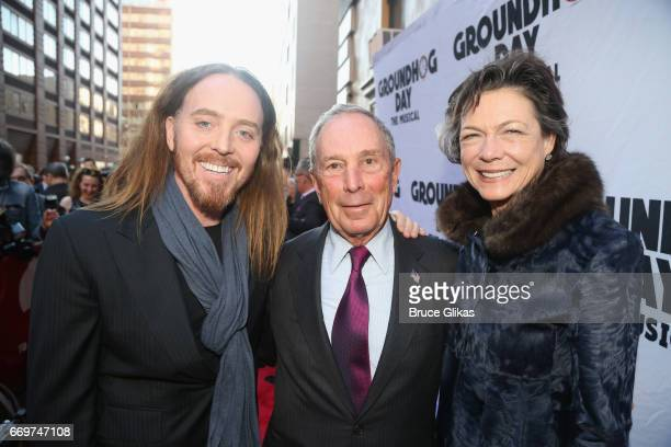 Tim Minchin Michael Bloomberg and Diana Taylor pose at the opening night of the new musical based on the film 'Groundhog Day' on Broadway at The...