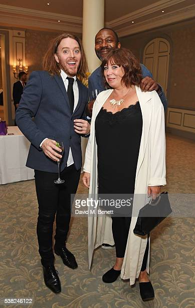 Tim Minchin Sir Lenny Henry and Lisa Makin attend the The South Bank Sky Arts Awards airing on Wednesday 8th June on Sky Arts at The Savoy Hotel on...