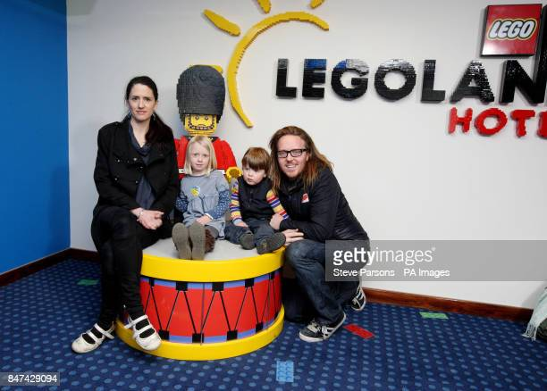 Tim Minchin with his wife Sarah and children Casper aged two and Violet aged five arriving at the LEGOLAND Windsor Resort Hotel launch