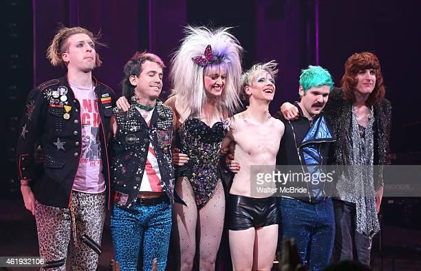 Tim Mislock Peter Yanowitz Lena Hall John Cameron Mitchell Matt Duncan and Justin Craig during the Curtain Call as John debuts in Broadway's 'Hedwig...