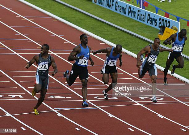 Tim Montgomery of the USA celebrates winning with a new world record time of 978 seconds in the Men's 100 metres at the 18th IAAF Grand Prix Final...