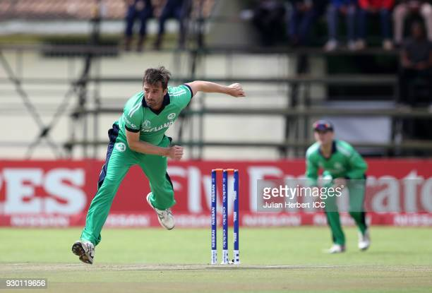 Tim Murtagh of Ireland bowls during The ICC Cricket World Cup Qualifier between The West Indies and Ireland at The Harare Sports Club on March 10...