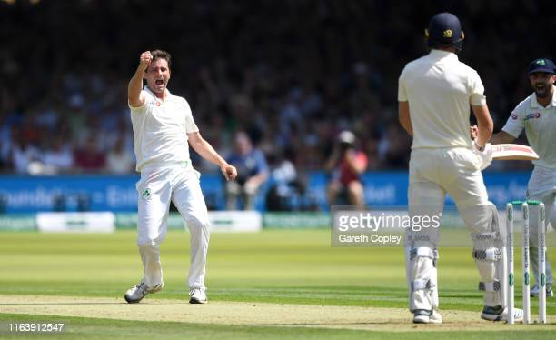 Tim Murtagh of Ireland celebrates dismissing Chris Woakes of England during day one of the Specsavers Test Match between England and Ireland at...