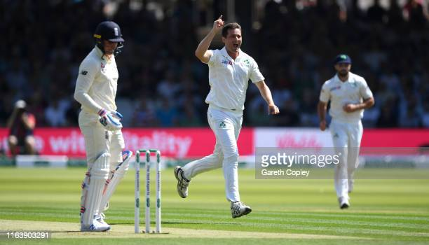 Tim Murtagh of Ireland celebrates dismissing Jason Roy of England during day one of the Specsavers Test Match between England and Ireland at Lord's...