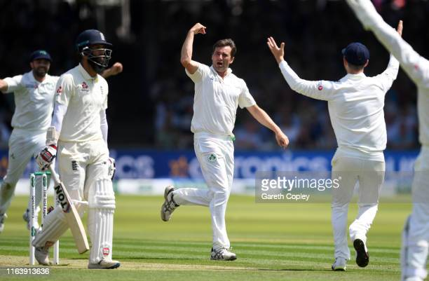 Tim Murtagh of Ireland celebrates dismissing Moeen Ali of England during day one of the Specsavers Test Match between England and Ireland at Lord's...
