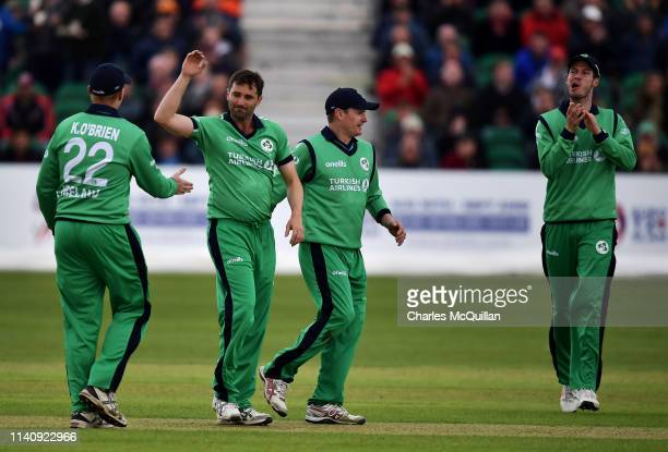 Tim Murtagh of Ireland celebrates taking a wicket during the ODI cricket match between Ireland and England at Malahide Cricket Club on May 3, 2019 in...