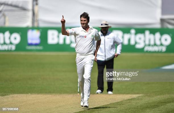 Tim Murtagh of Ireland celebrates taking Pakistan's ninth wicket during the third day of the test cricket match between Ireland and Pakistan on May...