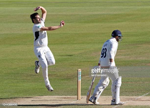 Tim Murtagh of Middlesex bowls during the Supersavers County Championship Division Two match between Durham and Middlesex at Emirates Riverside on...