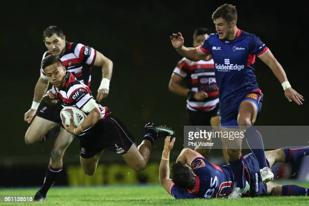 Tim NanaiWilliams of Counties is tackled during the round nine Mitre 10 Cup match between Counties Manukau and Tasman at ECOLight Stadium on October...