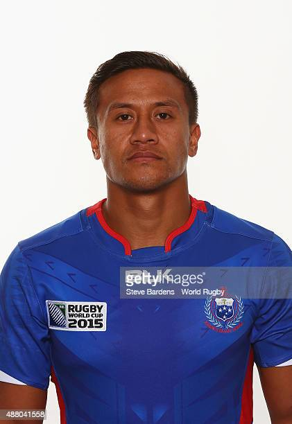 Tim NanaiWilliams of Samoa poses for a portrait during the Samoa Rugby World Cup 2015 squad photo call at the Waterfront Hotel on September 13 2015...