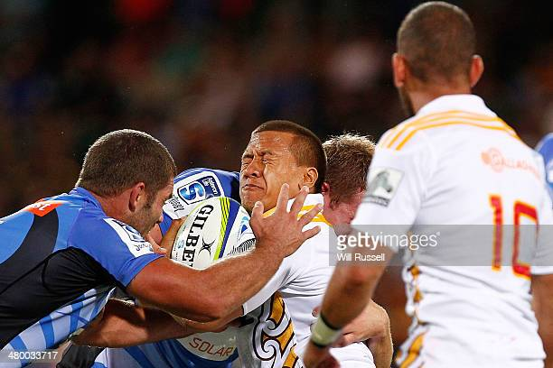 Tim NanaiWilliams of the Chiefs is tackled during the round six Super Rugby match between the Force and the Chiefs at nib Stadium on March 22 2014 in...