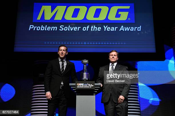 Tim Nelson Director of Motorsports FederalMogul Motorparts and Alan Gustafson crew chief of the Chevrolet pose with the MOOG Steering Suspension...