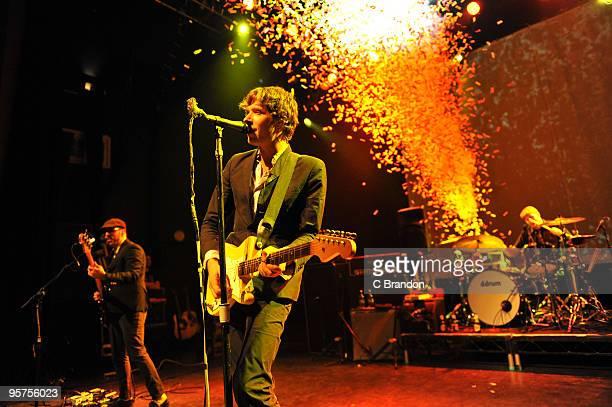 Tim Nordwind Damian Kulash and Dan Konopka of OK Go perform on stage at Shepherds Bush Empire on January 13 2010 in London England