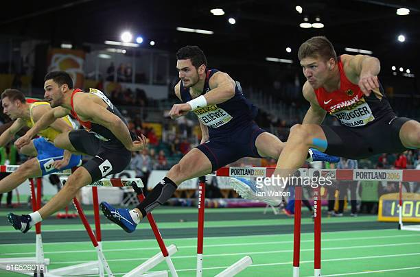 Tim Nowak of Germany Jeremy Lelievre of France and Mathias Brugger of Germany compete in the Men's Heptathlon Metres Hurdles during day three of the...