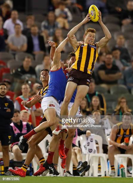 Tim O'Brien of the Hawks marks the ball during the AFLX Grand Final match between the Melbourne Demons and the Hawthorn Hawks at Etihad Stadium on...