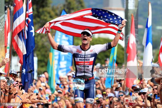 Tim O'Donnell of the United States celebrates after his second place finish in the Ironman World Championships on October 12, 2019 in Kailua Kona,...