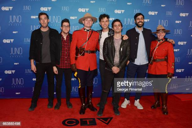 Tim Oxford Anthony Carone Max Kerman Mike DeAngelis and Nick Dika of Arkells arrive at the 2017 Juno Awards at Canadian Tire Centre on April 2 2017...