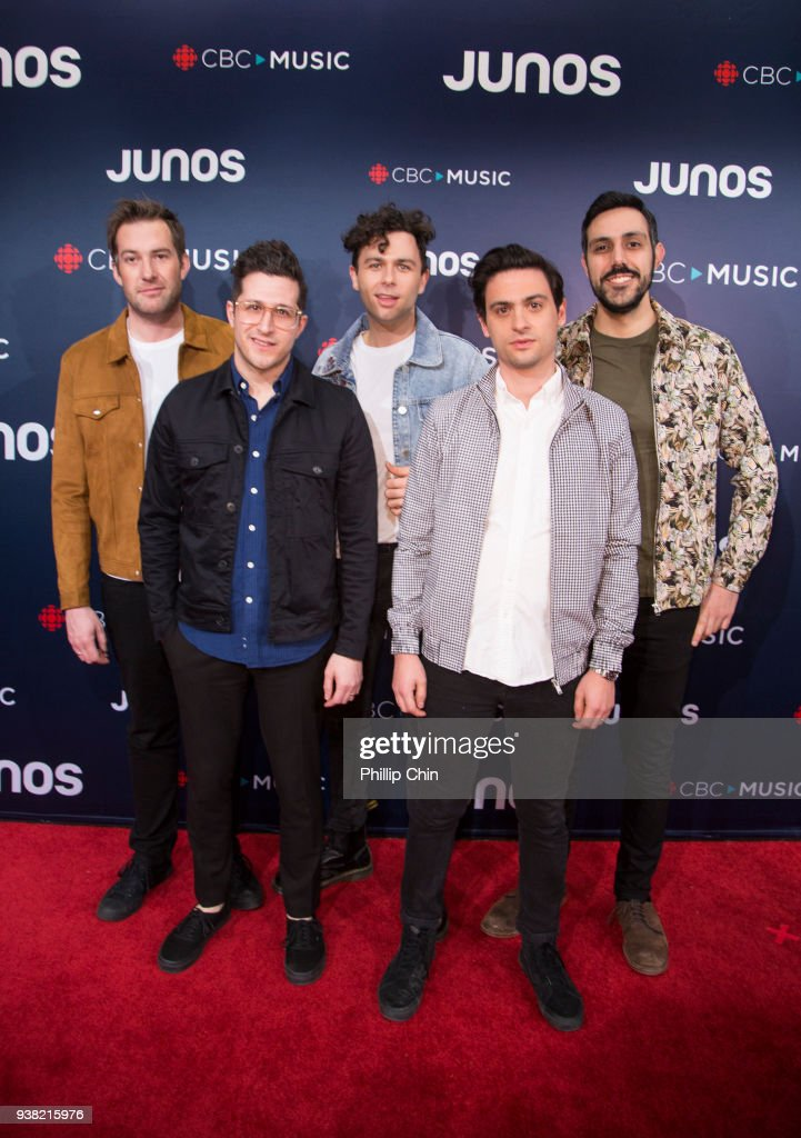 Tim Oxford, Anthony Carone, Max Kerman, Mike DeAngelis and Nick Dika from the Arkells attend the red carpet arrivals at the 2018 Juno Awards at Rogers Arena on March 25, 2018 in Vancouver, Canada.