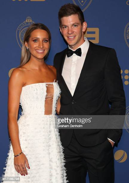Tim Paine and Bonnie Paine arrive at the 2018 Allan Border Medal at Crown Palladium on February 12 2018 in Melbourne Australia