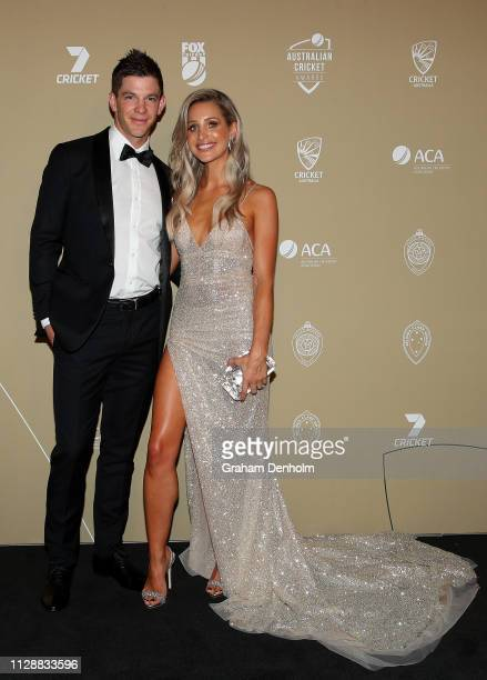 Tim Paine and Bonnie Paine attend the 2019 Australian Cricket Awards at Crown Palladium on February 11 2019 in Melbourne Australia